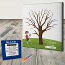 Cuadro huellas de Comunión para niño de fútbol