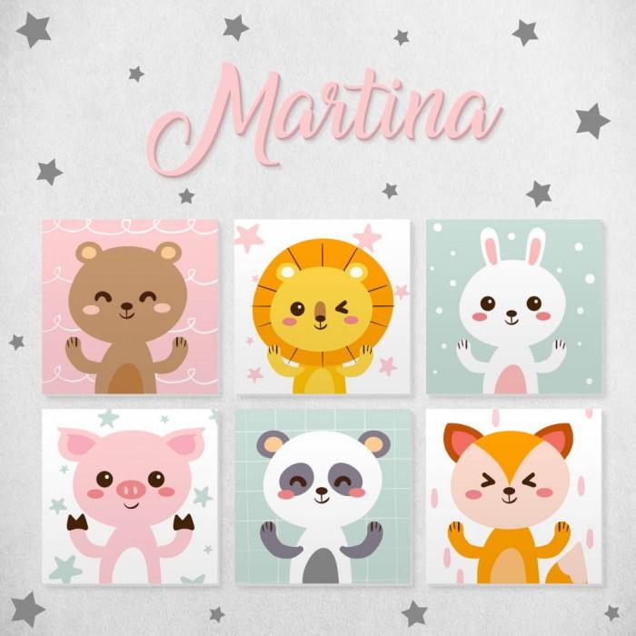 Pack decorativo infantil Animales con nombre personalizado
