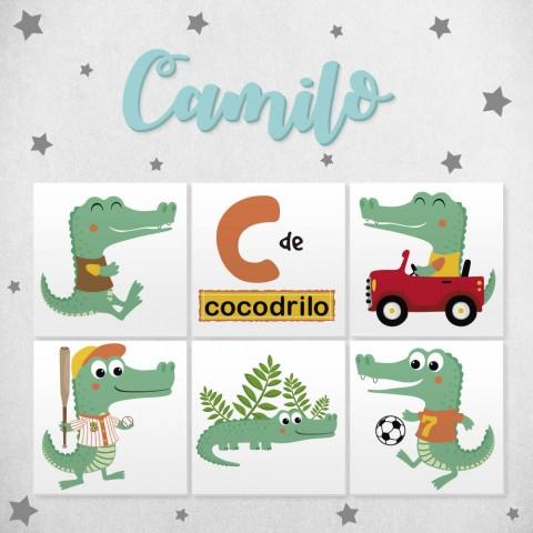 Letras de madera + Pack Animales Cocodrilo
