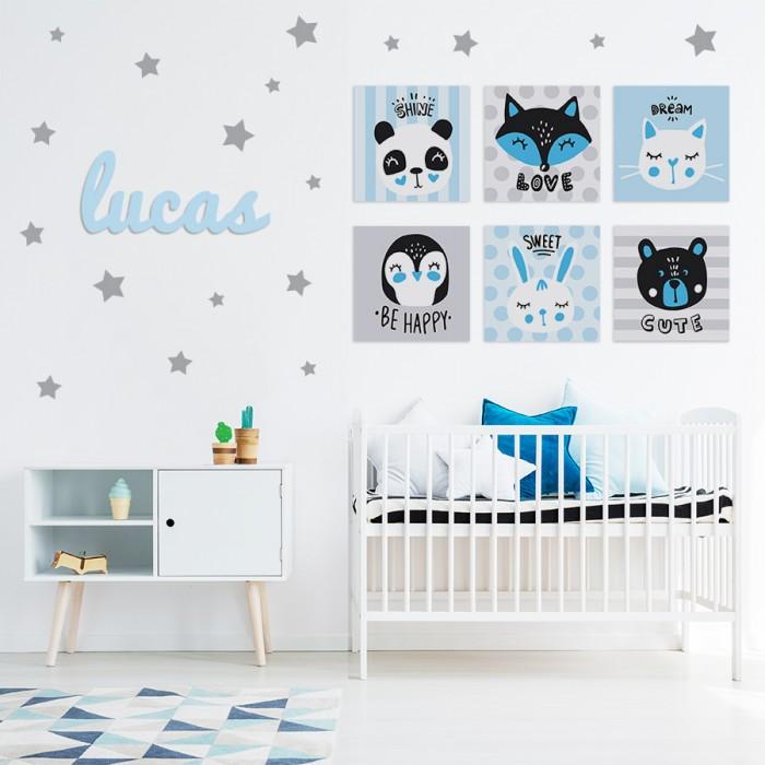 """Pack decorativo infantil """"Be Happy"""" Niño con nombre personalizado"""
