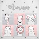 Pack decorativo infantil Animales Niña con nombre personalizado
