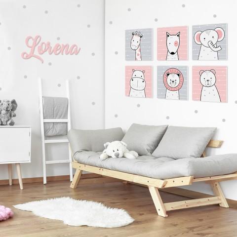 Letras de madera + Pack Animales Rosa
