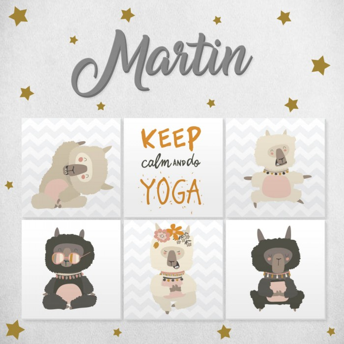 "Pack decorativo infantil ""Yoga"" con nombre personalizado"