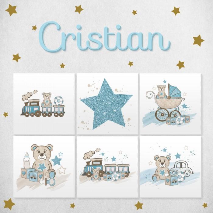 Pack decorativo infantil Niño con nombre personalizado