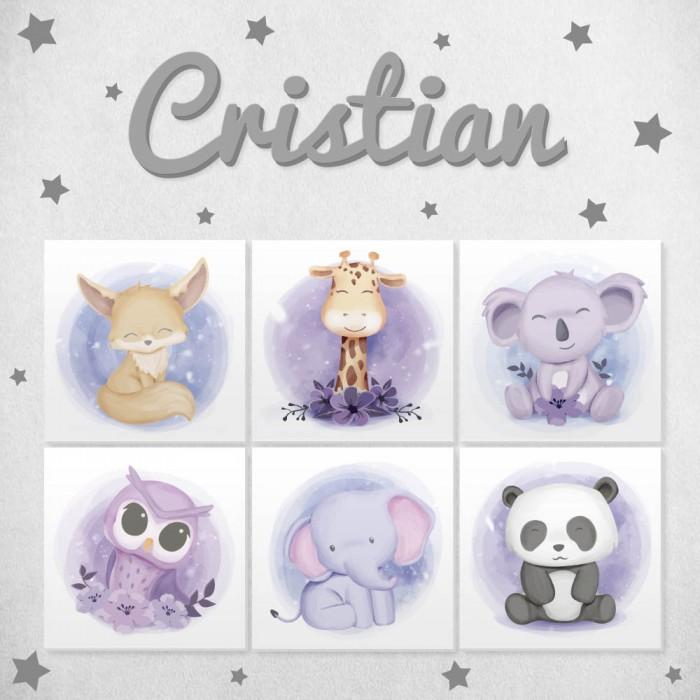 Pack decorativo infantil animales tiernos en lila