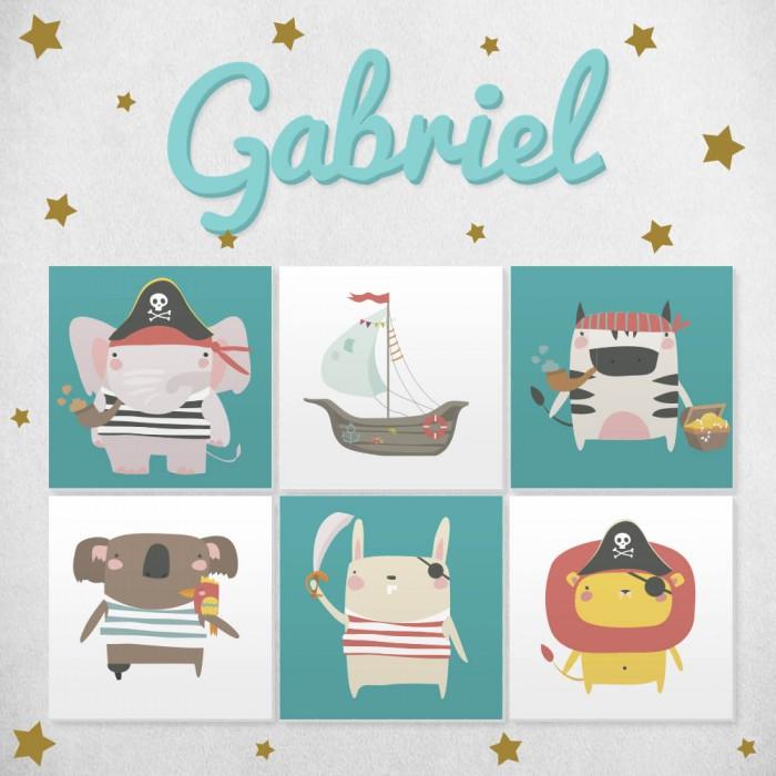 Pack decorativo infantil animales piratas con nombre personalizado