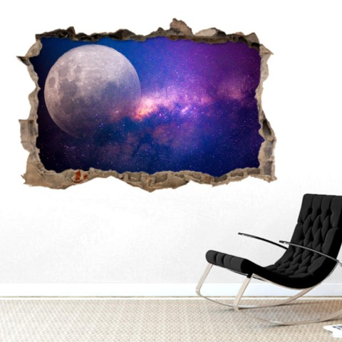 Pared Rota 3D - Luna Via Lactea