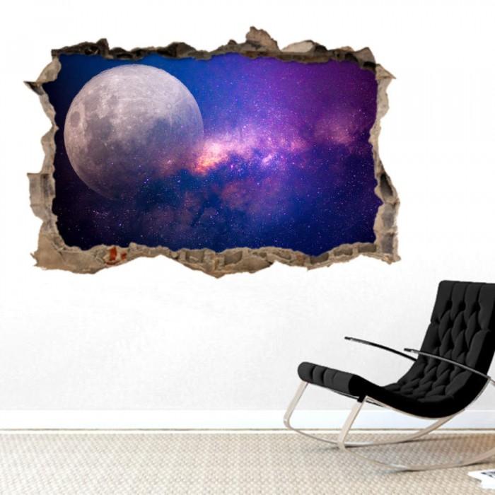 Pared Rota 3D - Luna Via Lactea