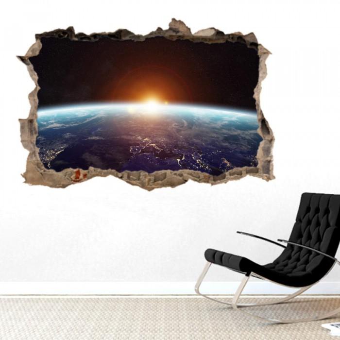 Pared Rota 3D - Amanecer en el espacio