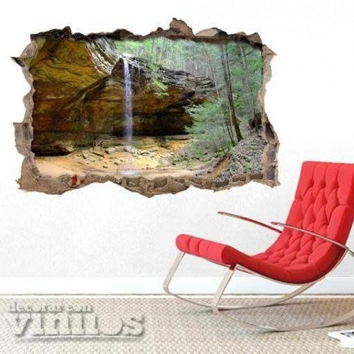 Pared Rota 3D -  Cascada en la cueva