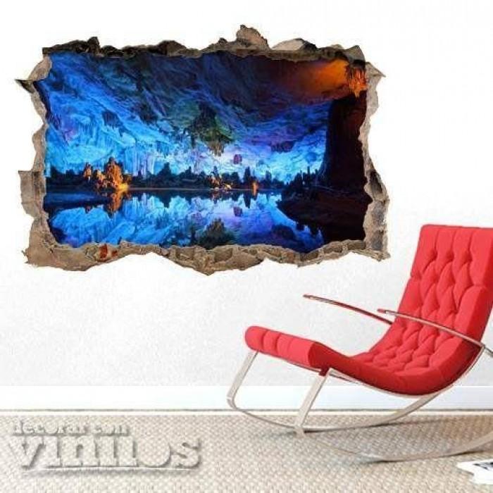 Pared Rota 3D -  Cueva azul
