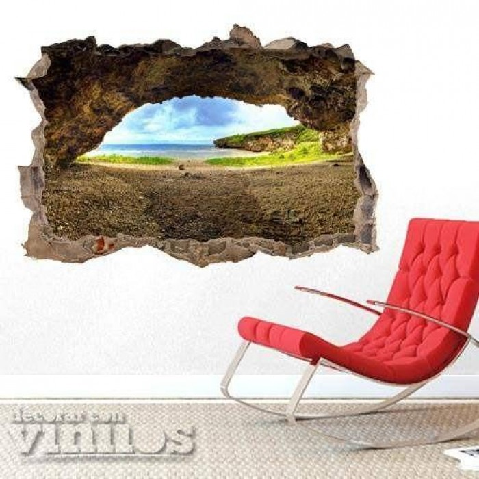 Pared Rota 3D -  Cueva en la playa