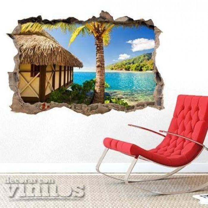 Pared Rota 3D - Cabaña en la playa