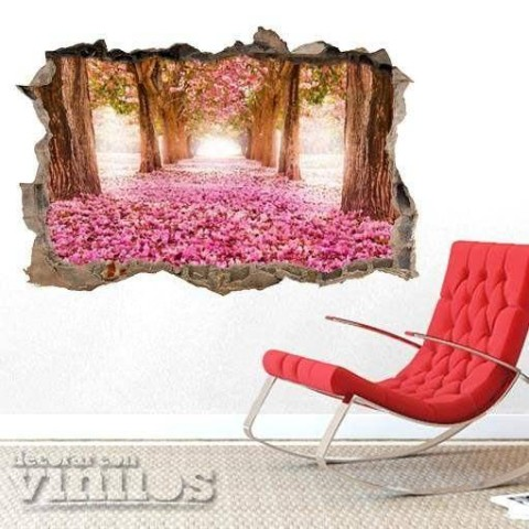 Pared Rota 3D - Bosque Rosa