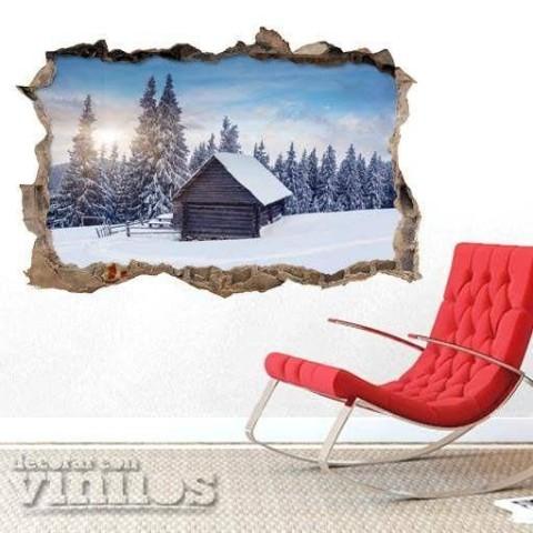 Pared Rota 3D - Cabaña en la nieve
