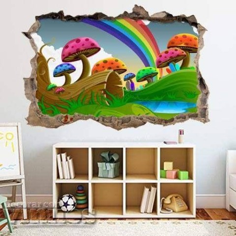 Pared Rota 3D Infantil - Arcoiris