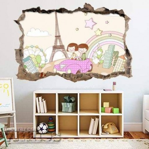 Pared Rota 3D Infantil - Paris