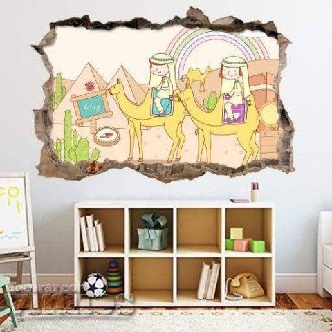 Pared Rota 3D Infantil - Piramides