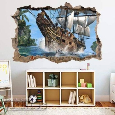 Pared Rota 3D Infantil - Barco pirata