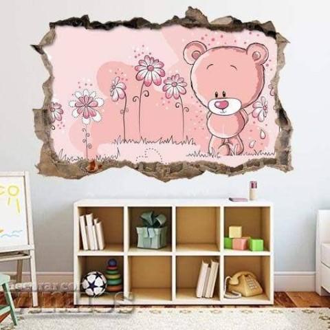 Pared Rota 3D Infantil - Osito rosa