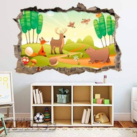 Pared Rota 3D Infantil - Animales en el bosque