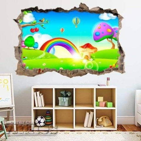 Pared Rota 3D Infantil - Arcoiris 2
