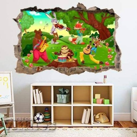 Pared Rota 3D Infantil - Animales musicos