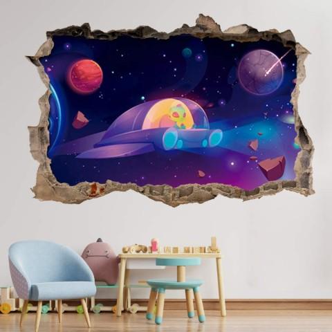 Pared Rota 3D Infantil - Nave extraterrestre