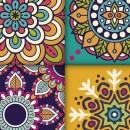 Azulejos de vinilo - Diseño Mandala naranjas 36 unidades