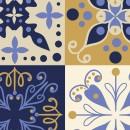 Azulejos de vinilo - Diseño Talavera azul y amarillo 36 unidades