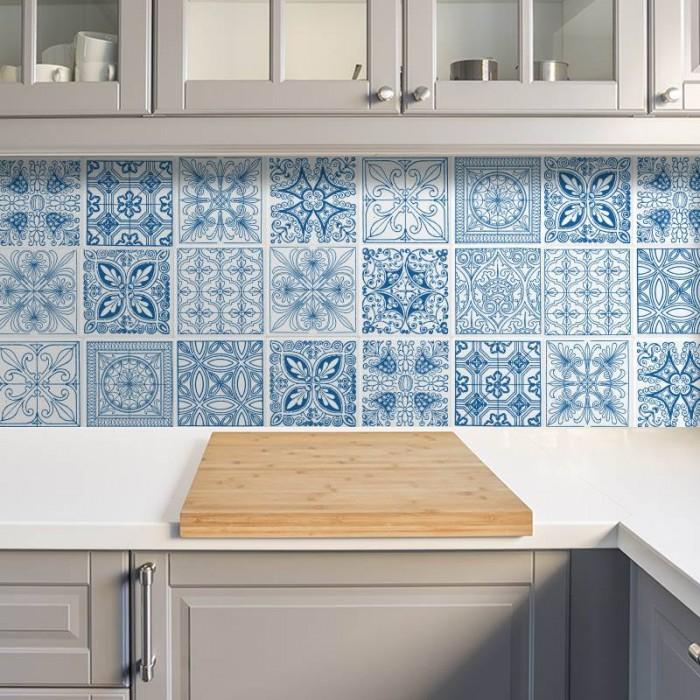 Azulejos de vinilo - Diseño Talavera Azul 36 unidades