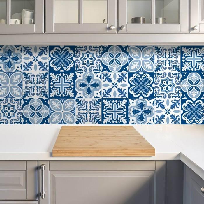 Azulejos de vinilo - Diseño Portugueses Azul 36 unidades
