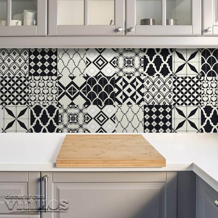 Azulejos de vinilo - Diseño Marruecos Blanco y negro 36 unidades