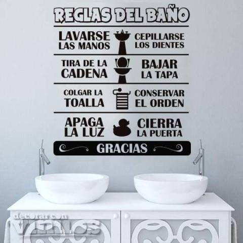 Vinilos para baños - Reglas del Baño