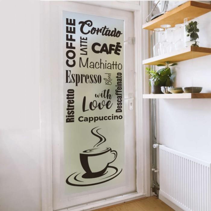 Vinilo traslucido para puerta cafe