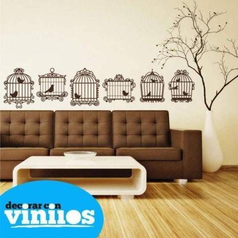 Vinilos Decorativos - Jaulas con Pájaros Vintage