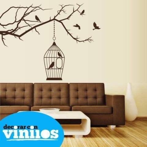 Vinilos Decorativos - Jaula Pájaros