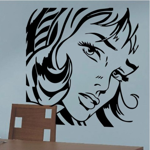Vinilos Decorativos - Rostro Mujer Pop Art 2
