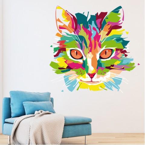 Vinilos Decorativos -  Gato colores 3