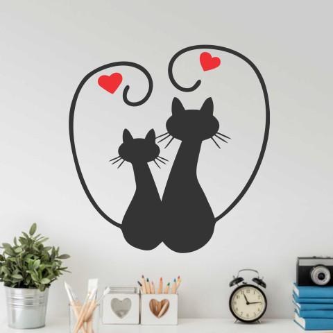 Vinilos Decorativos -  Gato corazones