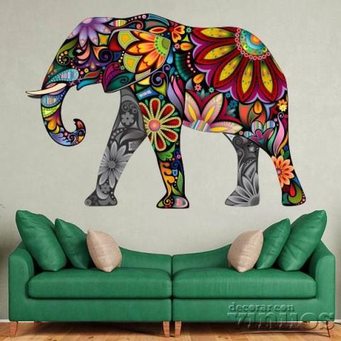 Vinilos Decorativos - Elefante de colores