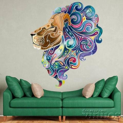 Vinilos Decorativos - Cabeza de leon colores