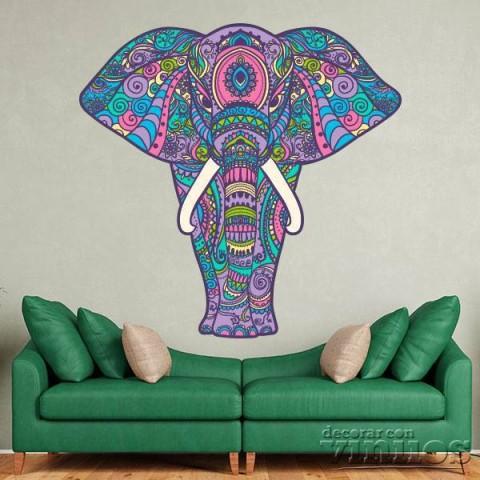 Vinilos Decorativos - Elefante de frente colores