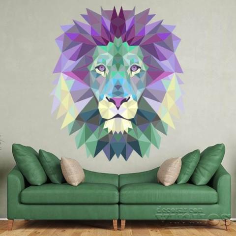 Vinilos Decorativos - Cabeza de leon colores 2