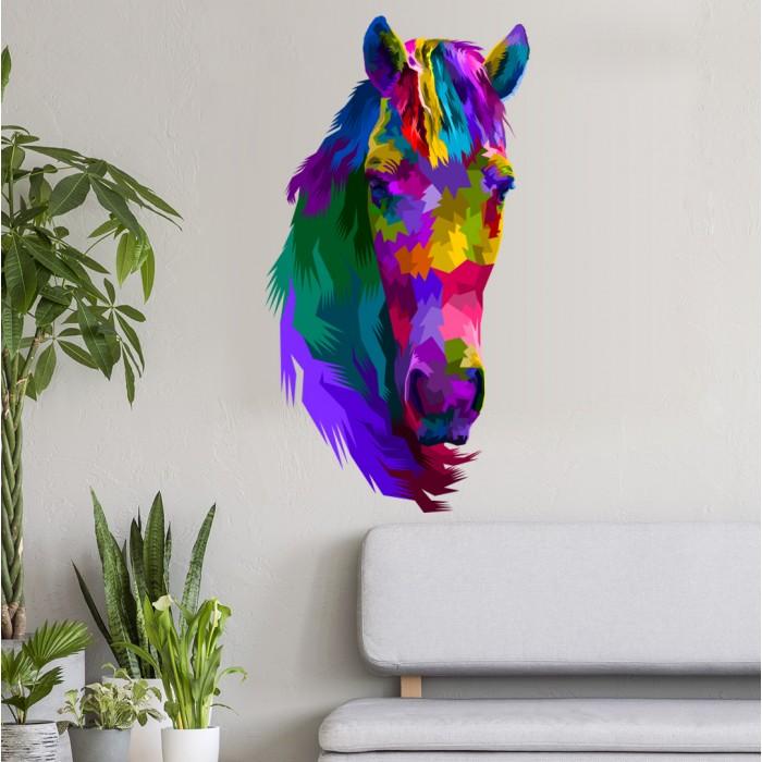 Vinilos Decorativos - Cabeza caballo de colores