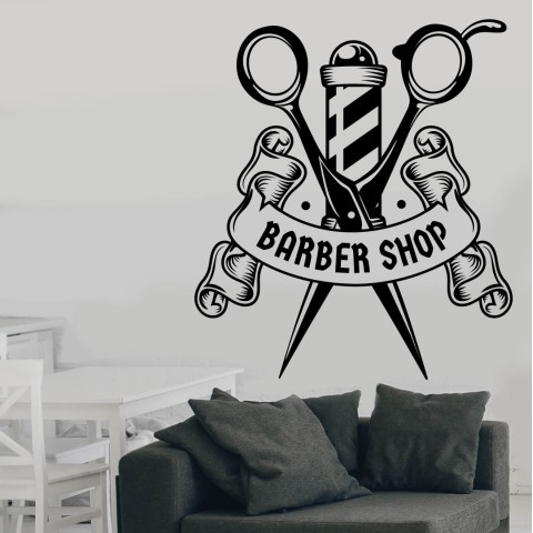 Vinilos Decorativos - Barber Shop Tijeras