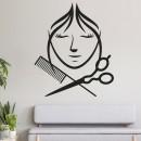 Vinilos Decorativos - Peluqueria Mujer con peine y tijera