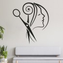 Vinilos Decorativos - Peluquería Mujer cabello tijeras