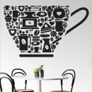 Vinilos Decorativos - Taza de cafe con iconos de cafetería y panadería