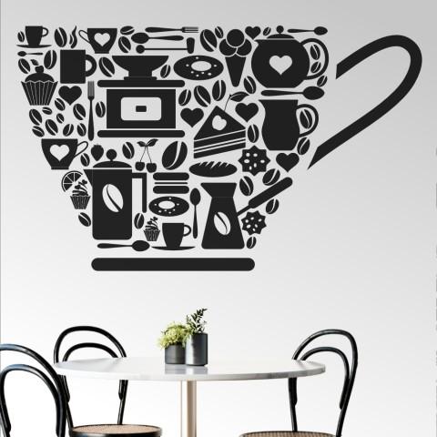 Vinilos Decorativos - Taza de cafe iconos